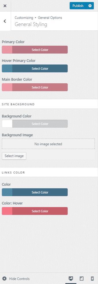 WordPress Customizer Global colors
