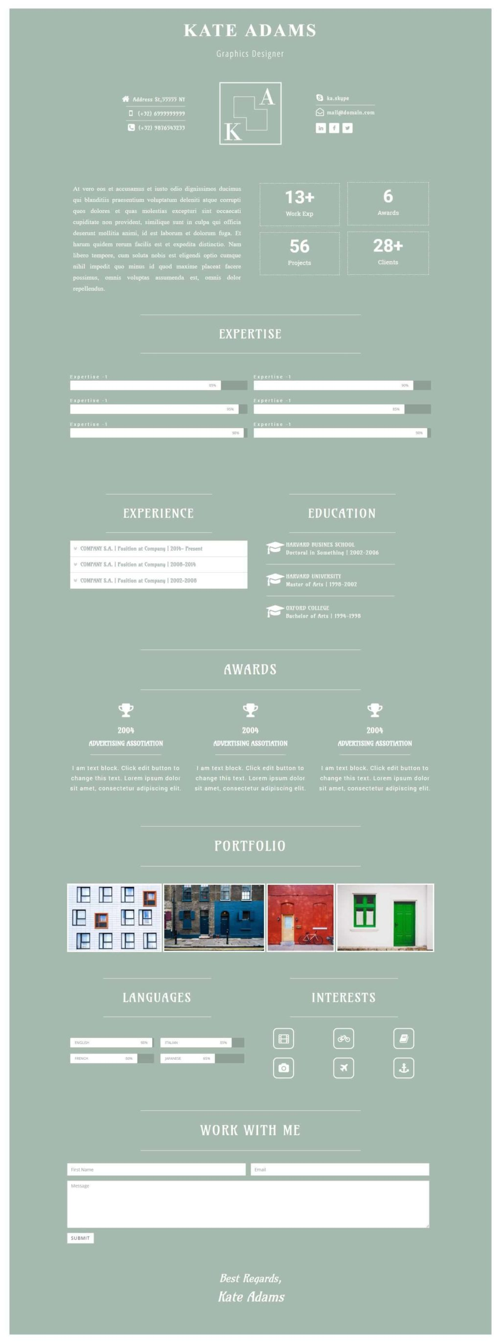 CV OLIVE ELEMENTOR TEMPLATE | LUSH TEMPLATES FOR WEB